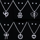 Fashion Jewelry BRIDAL WEDDING SILVER CRYSTAL NECKLACE EARRING SETS Women gifts