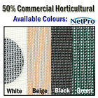 Shade Cloth 50% Density 50m Commercial Horticultural Grade 170gsm Shadecloth