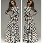 Stylish Women Ladies Plaids & Checks Long Maxi Evening Cocktail Party Dress - CB