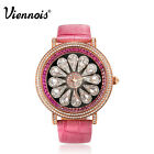 Viennois Luxurious Swarovski Crystal Leather Quartz Wrist Bangle Women's Watch