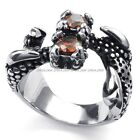 Men's 316L Stainless Steel Titanium Dragon Claw Ruby Fashion Casted Ring G072338