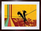 PAINTING RETRO FUNKY YELLOW BIRDS WIRE SILHOUETTE FRAMED PRINT F12X6238