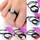 Damen Beads Fingerring Kristall Strass Ring verstellbar geflochten Ringschmuck