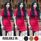 Womens Asymmetric Curved Hem Bodycon Bandage Fitted Party Summer Celebrity Dress