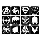 Glitter Tattoo Kit Super Hero Refill Stencils x11  Face Painting Airbrush #5