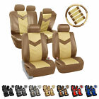 Synthetic Leather Full Set Auto Seat Covers Air Bag Safe & Split Bench Ready