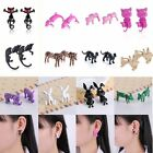 Charm Lovely Women Girl Colorful Animal Crystal 3D Pierced Stud Earrings Jewelry
