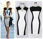 Trendy Women's Contrast V Neck Evening Slim Bodycon Midi Pencil Party Dress - CB