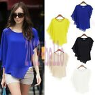 New Lady Womens Short Sleeve Chiffon Tops Casual T-Shirt Crew Neck Loose Blouse