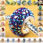 Many Colors AB Swarovski Crystal 925 Silver Large Hole Charm Bead Fit Bracelet