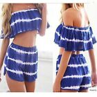 New Women Girl Blue and White Stripes Suit Two Pieces Short Bra + Hot Pants - CB