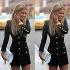 2015 New Women Slim Long Sleeve Buttons Casual Bodycon Cocktail Mini Dress Black