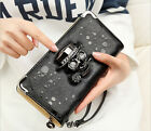 Punk Style Women's Skull Wallet Zip Purse Large Clutch Card Holders Lady Handbag