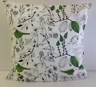 CUSHION COVERS MADE FROM TRENDY IKEA GREEN BIRD FABRIC GREEN LEAVES TREES