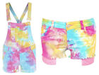 NEW WOMEN'S DUNGAREE SHORTS TIE DYE DUNGAREES TIE DYE SHORTS TIE DYE JUMPSUIT