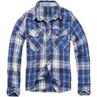 BRANDIT CHECK COTTON FLANNEL SHIRT MENS WORK LONG SLEEVE MARINE CADET TOP NAVY