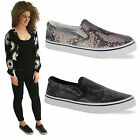 LADIES WOMENS FLAT SLIP ON PLIMSOLLS SNEAKERS TRAINERS SKATER SHOES PUMPS SIZE