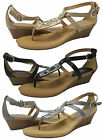 Coach Womens Dylan Tan or Black or Pewter Ankle Strap Wedge Thong Sandals Shoes