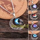 Nice Women's Galactic Glass Cabochon Pendant Silver-Tone Crescent Moon Necklace