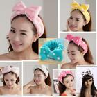 Cute Korean Spots Flannel Bowknot Hair Wrap Band Towel Face Makeup Headband - CB