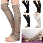 Fashion Crochet Lace Trim Twist Button Down Braid Leg KWarm nit Knee Socks - CB