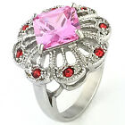 Women Ring Stainless Steel Crystal Pink Halo Wedding Engagement US Seller