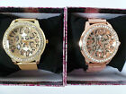 Ladies Leopard Print & Crystal Faced Designer Style Watch with Metal Wristband