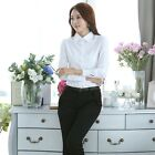 Elegant Womens Lapel Long Sleeve White Blouse Casual Tops Button Down Shirt - CB