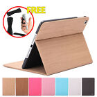 Slim Wood Pattern PU Leather Stand Smart Cover Case For Apple iPad Mini 1 2 3
