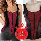 Red Vest Floral Jacquard Over Bust Corset Waist Training Zipper Lace Steampunk