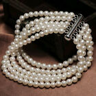 5row 7-8mm white/black pearl bracelet(2 color&4 different length can choose)