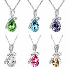 Muti-color Silver Plated Angel's Teardrop Charm Crystal Pendant Necklaces Gift