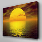 C067 Yellow Ocean Sunset Canvas Wall Art Ready to Hang Picture Print