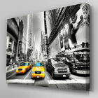C095 New York Taxi Black White Canvas Wall Art Ready to Hang Picture Print