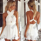 Womens Party Summer Evening Orange White Short Tie Backless Playsuit Sun dress