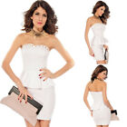 Gold Stud Sexy Strapless Peplum Mini Stretch Bodycon Formal Evening Party Dress
