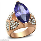 13ct Tanzanite CZ With Heart Shape Crystal Pave Rose Gold EP Ladies Ring