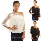 PattyBoutik Floral Lace Inset One Shoulder Batwing Kimono Sleeve Top