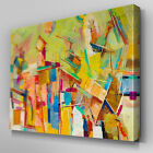 AB359 Abstract Yellow Brush Strokes Canvas Wall Art Ready to Hang Picture Print