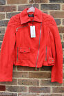 Karen Millen Red Signature LTD Soft Suede Leather Biker Jacket 10 38 £499 New