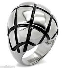 Huge Oval Shape Silver Stainless Steel Cross-Grooved Cocktail Ladies Ring New