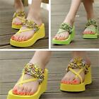Casual Girl's Wedge Platform Flip Flops Sandals Shoes Summer Beach Slippers - CB