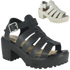 WOMENS LADIES T-BAR PLATFORM BUCKLE CLEATED SOLE MID HEEL SHOES SANDALS SIZE 3-8