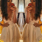 Womens Pretty Lace Crochet Low V Neck Party Ladies Summer Bodycon Skater Dress