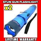 2 PC 300 Million Volt BLUE Stun Gun w/ LED Rechargeable Flashlight NEW