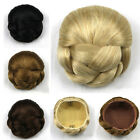Lady Black/Brown Colorful Hairpiece Short Straight Bun Clip In Hair Extension