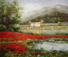 "Poppy Field By The Lake, Original Landscape Oil Painting on Canvas , 36"" x 30"""