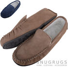 Mens Berber Fleece Lined Moccasins with Non-Slip Rubber Sole - Navy