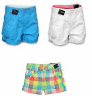 GIRLS SUMMER SHORTS PACK OF 3 WHITE TEAL RED CHECKED MIX OR MATCH SIZES 8-16 YRS