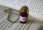 Blood 1ml Glass Bottle Necklace - Cork Vial Pendant Goth Vampire Halloween Charm